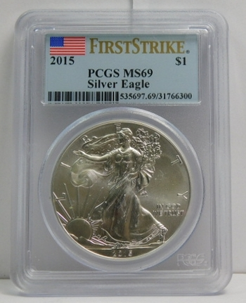 2015 American Silver Eagle - First Strike - Graded MS69 by PCGS - Pure White Coin