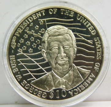 """2002 Liberia George Bush Coin """"Presidents of the USA"""" Within a Custom Holder"""