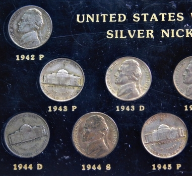 11 Piece Silver Wartime Nickel Set in Capital Holder