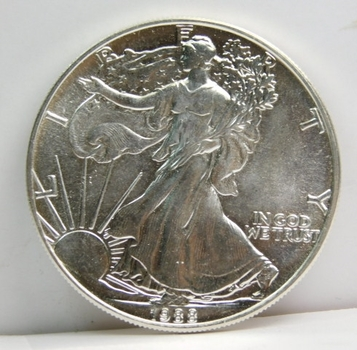 1988 Silver American Eagle Housed In Custom Holder For 1986-1990 Eagles