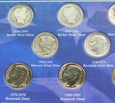 A Century Of US Dimes: 11 Total Dimes Barbers, Mercury's And Roosevelts