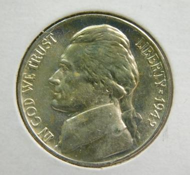 1942-P Silver US War Nickel Brilliant Uncirculated