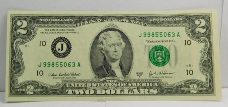 Colorized Reverse U.S. $2.00 Bill Housed in Custom Holder