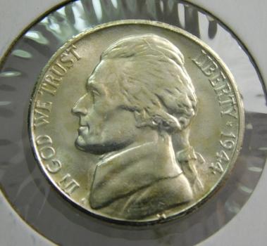 1944-S Silver US War Nickel Brilliant Uncirculated