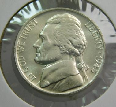 1945-P Silver US War Nickel Briiliant Uncirculated