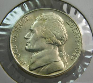 1945-D Silver US War Nickel Brilliant Uncirculated