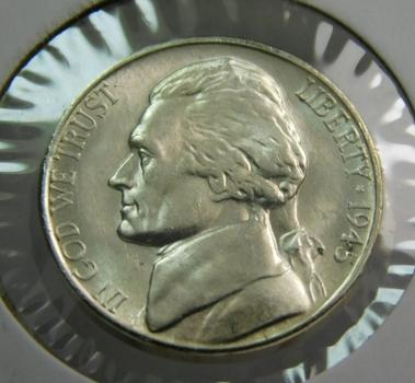 1945-S Silver US War Nickel Brilliant Uncirculated