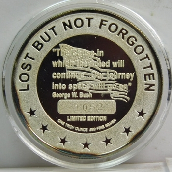 One Troy Ounce .999 Fine Proof Silver Round - The Seven Souls of Columbia - Lost But Not Forgotten