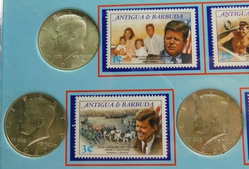 JF Kennedy Commemorative Stamp & Coin Collection 6 Silver Half Dollars