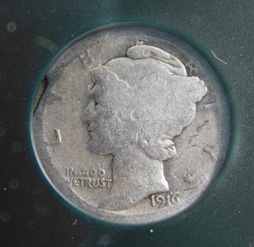 1916 Very Good Mercury Dime BA Certified