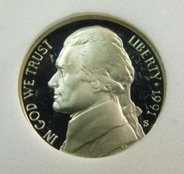 1991-S SGS PR70CAM Jefferson Nickel
