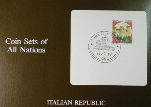 Italian Republic - Colin Sets of All Nations - Seven Coins with Cancelled Stamp