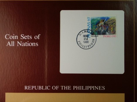 Republic of the Philippines - Coin Sets of All Nations - Seven Coins plus cancelled stamp