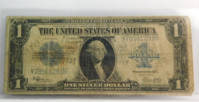 Series 1923 Large Size $1 Silver Certificate Saddle Blanket Note