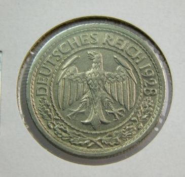 HIGH GRADE!! - 1928F Germany 50 Reichspfennig