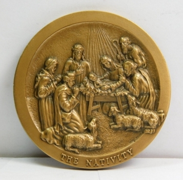 "RARE Jesus Nativity Scene - The Flight Into Egypt 2"" High Relief Coin/Medal"