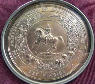 RARE Original 1870's Electrotype of the Great Seal of the Confederacy in Original Velvet Lined Leather Display Box