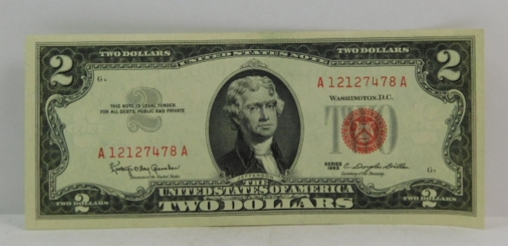 Series 1963 $2 Red Seal United States Note - High Grade - Crisp Paper