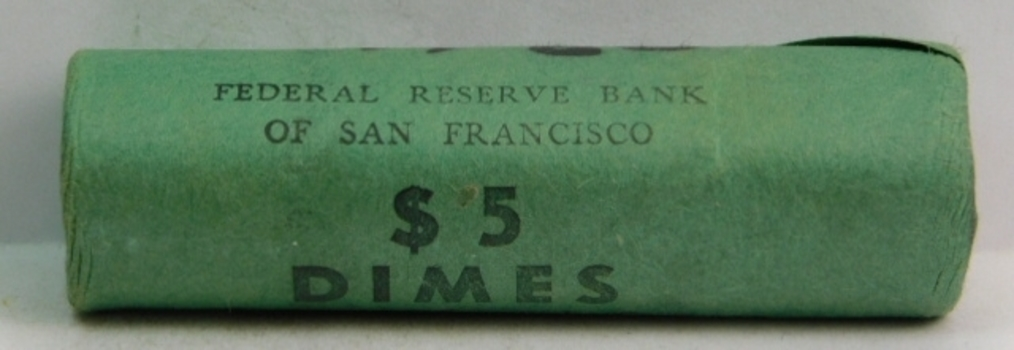 Unopened, Uncirculated Bank Roll of 1960-D Silver Roosevelt Dimes - $5.00 Face Value - Federal Reserve Bank of San Francisco