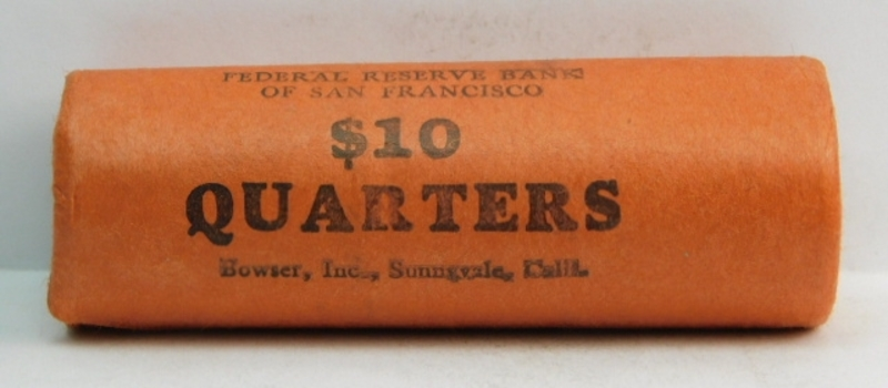 Unopened, Uncirculated Bank Roll of 1960 Silver Washington Quarters - $10.00 Face Value - Federal Reserve Bank of San Francisco