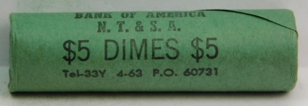 Unopened, Uncirculated Bank Roll of 1963 Silver Roosevelt Dimes - $5.00 Face Value - Bank of America