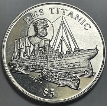 1998 $5 RMS Titantic Commemorative Coin - Brilliant Uncirculated