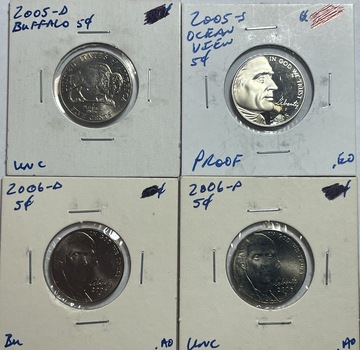 Lot of (4) 2005 & 2006 Proof and Brilliant Uncirculated Jefferson Nickels