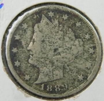 "SCARCE DATE!  1889 Liberty ""V"" Nickel"