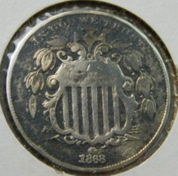 1868 Shield Nickel - Good Detail!