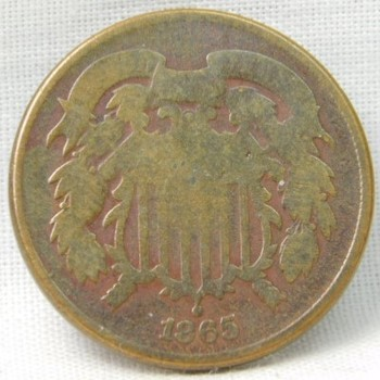 Genuine 1865 Two Cent (2c) Piece - Detail is Well Outlined