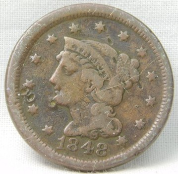 Genuine 1848 Braided Hair Large Cent - NICE DETAIL!