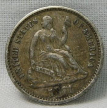 Genuine 1871 Silver Half Dime - Well Detailed!