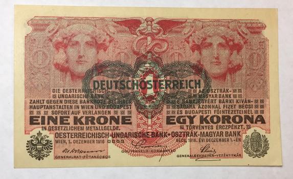 1916 Austria-Hungary 1 Krone/1 Korona Note - Gem Crisp Uncirculated