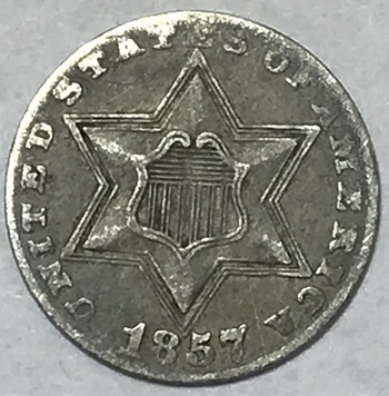 1857 3 Cent Silver Trime