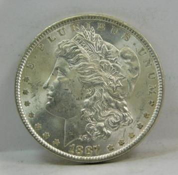 1887 Morgan Silver Dollar - High Grade w/Original Mint Luster