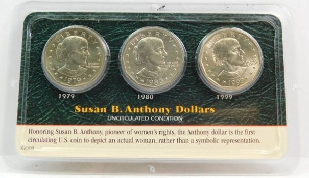 Set of 3 Susan B. Anthony Dollars from 1979, 1980 and 1999 in Littleton Coin Co. Showpack - Uncirculated Condition