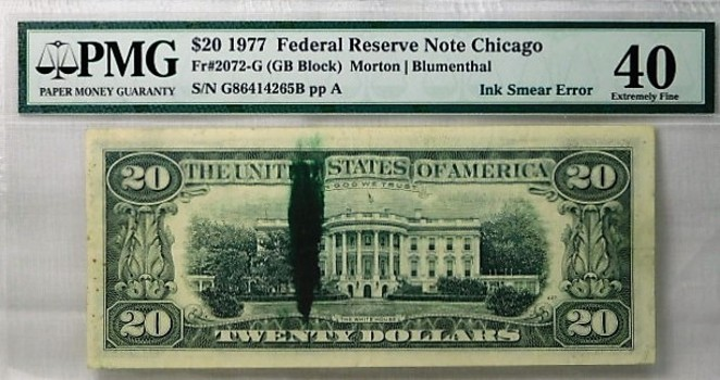 $20 1977 Federal Reserve Note Chicago PMG Graded XF40 Ink Smear Error