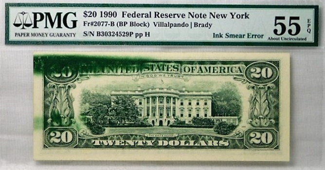 $20 1990 Federal Reserve Note New York PMG Graded AU55 EPQ Ink Smear Error