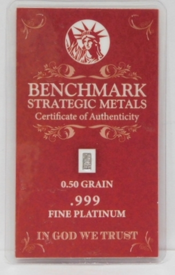 0.50 Grain of .999 Fine Platinum Bar - Benchmark Strategic Metals with Certificate of Authenticity