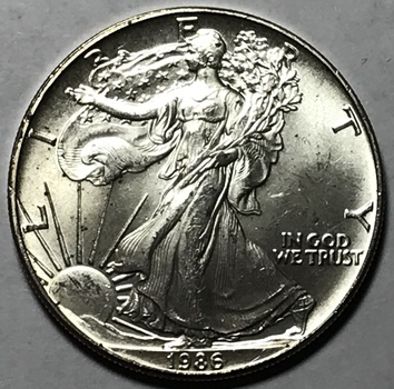 1986 $1 American Silver Eagle 1 oz .999 Fine Silver - First Year of Issue