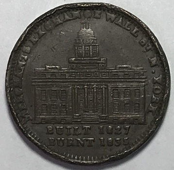 1835 Merchants Exchange Wall Street - Millions for Defence - Hard Times Token