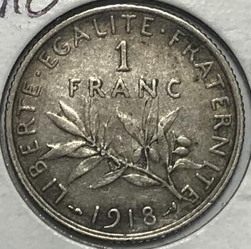 1918 France Silver Franc
