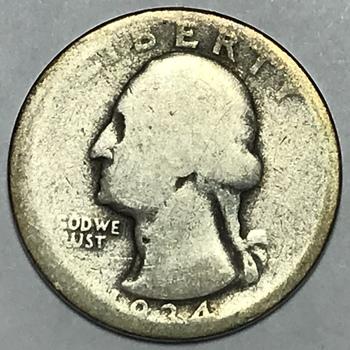 1934 Washington Silver Quarter