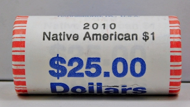 2010 $25.00 Unopened, Unsearched Bank Roll of 2010 Native American Law of Peace Dollars - Brilliant Uncirculated Coins