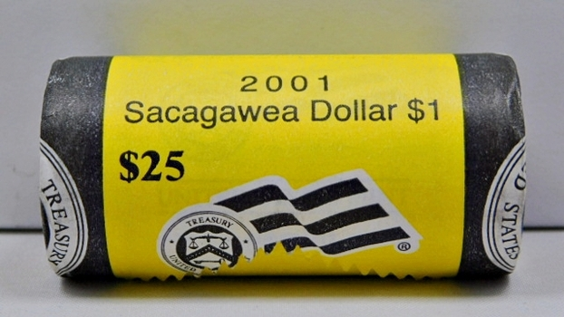 2001-P Unopened, Unsearched Brilliant Uncirculated $25 Mint Roll of Sacagawea Dollars