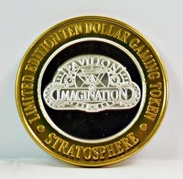Silver Strike - .999 Fine Silver - Stratosphere - Pavilion Imagination - Limited Edition $10 Gaming Token - Las Vegas, Nevada