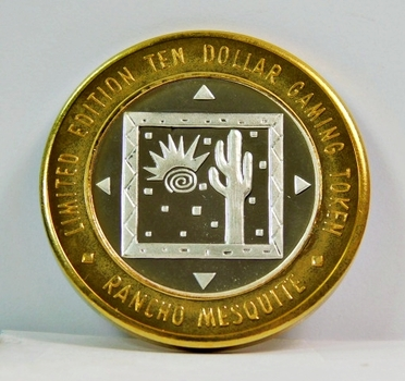 Silver Strike - .999 Fine Silver - Rancho Mesquite Casino - Limited Edition $10 Gaming Token - Mesquite, Nevada