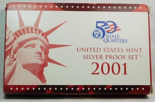 2001 United States Mint SILVER Proof Set - with Quarters, Original Box and COA - San Francisco Minted