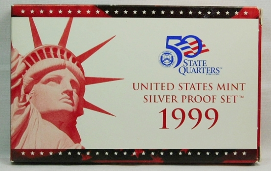 1999 United States Mint Silver Proof Set - Complete with 1999 Quarters and Original Mint Box and COA