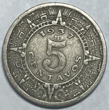 1937 Mexico 5 Centavos